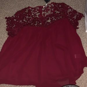 Umgee Maroon cut out blouse shirt sleeve red